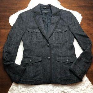 Rag & Bone Charcoal Gray Wool Herringbone Blazer